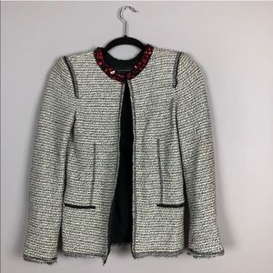 Zara Sparkle Knit Blazer with Stone Neck - Size XS